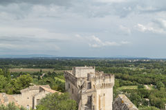 Medieval Castle Walls of Fort Saint-Andre in town of Villeneuve Royalty Free Stock Image