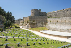 Medieval castle walls on Rhodes, Greece Stock Photos