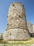 Medieval castle walls on Rhodes, Greece Royalty Free Stock Images