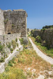 Medieval castle walls on Rhodes, Greece Royalty Free Stock Photos