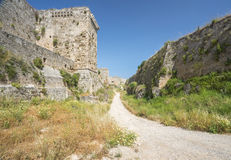 Medieval castle walls on Rhodes, Greece Royalty Free Stock Photography