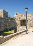 Medieval castle walls on Rhodes, Greece Stock Photo