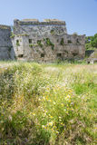 Medieval castle walls on Rhodes, Greece Stock Image