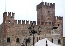 Medieval castle and the winged lion in Marostica in Vicenza in Veneto (Italy). Photo made to Marostica's medieval castle in the province of Vicenza in Veneto ( stock photography