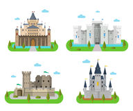 Medieval castles, fortresses, forts and bastions in the flat sty. Castles and fortress with walls, towers and gates. Old medieval forts and king strongholds in a Stock Images