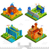 Medieval Castles Isometric Collection Stock Image