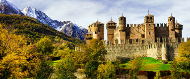 Medieval castles of Italy - Fenis in Valle Aost. Beautiful medieval castles of Italy - Fenis in Valle d'Aosta mountains Royalty Free Stock Images