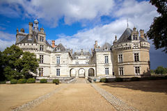 Medieval castles of Loire valley - Le-Lude. On a cloudy day, after the rain stock photos