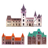 Medieval castles with towers and turrets. Towers on old castles with gates and turrets, wide gates and stone walls. Defense medieval structure icon, exterior Stock Photography