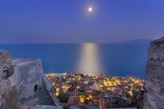 The medieval `castletown` of Monemvasia, often called `The Greek Gibraltar`, Lakonia, Peloponnese. The medieval `castletown` of Monemvasia, often called `The stock photos