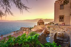 The medieval `castletown` of Monemvasia, often called `The Greek Gibraltar`, Lakonia, Peloponnese. The medieval `castletown` of Monemvasia, often called `The stock images