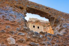 The medieval `castletown` of Monemvasia, often called `The Greek Gibraltar`, Lakonia, Peloponnese. The medieval `castletown` of Monemvasia, often called `The stock image