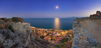 The medieval `castletown` of Monemvasia, often called `The Greek Gibraltar`, Lakonia, Peloponnese. The medieval `castletown` of Monemvasia, often called `The royalty free stock photo