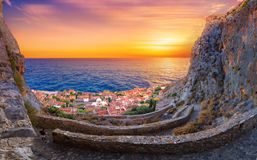 The medieval `castletown` of Monemvasia, often called `The Greek Gibraltar`, Lakonia, Peloponnese. The medieval `castletown` of Monemvasia, often called `The royalty free stock image
