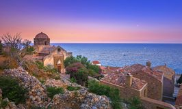 The medieval `castletown` of Monemvasia, often called `The Greek Gibraltar`, Lakonia, Peloponnese. The medieval `castletown` of Monemvasia, often called `The royalty free stock photos