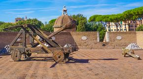 A Medieval Catapult at the Castel Saint`Angelo in Rome Italy. A Medieval Catapult in the tower at the Castel Saint`Angelo Castle St. Anegel in Rome Italy Royalty Free Stock Images