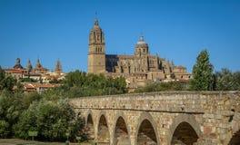 Medieval cathedral and bridge, Salamanca, Spain Royalty Free Stock Images