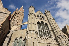 Medieval cathedral of Brugge Stock Photos