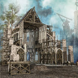 Medieval cathedral in construction Stock Image
