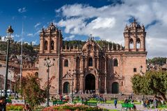 Cusco / Peru - May 26.2008: Medieval Cathedral located on the Plaza de Armas. royalty free stock photo