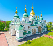 The medieval cathedral. The view on Saint Sophia Cathedral from its huge Bell Tower, Kiev, Ukraine Stock Image