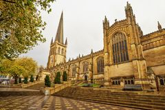 Medieval Cathedral in Wakefield,United Kingdom. View of medieval Wakefield Cathedral located in West Yorkshire, Great Britain royalty free stock image