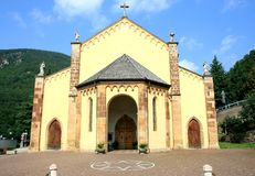 Medieval catholic Italian church in Cembra Stock Photo