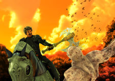 Medieval Cavalry Warrior Horseback Slay Monster. A valiant cavalrymen on horseback axe slaying a monster Royalty Free Stock Photo