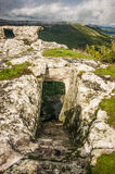 Medieval cave city-fortress Chufut-Kale in the mountains stock photography