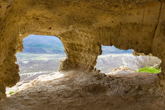Medieval cave city Tepe-Kermen, Crimea Stock Image