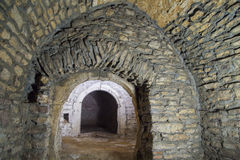 Medieval cellar. The abandoned european medieval cellar Stock Images