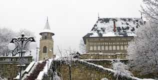Medieval center, Piatra Neamt. Winter scene in the  historical center of Piatra Neamt city, Romania Stock Images