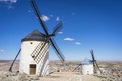 Medieval, cereal mills mythical Castile in Spain, Don Quixote, C Royalty Free Stock Photos