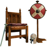 Medieval chair and armor Stock Photography
