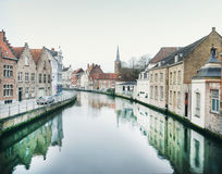 Medieval channel in Bruges, Belgium Stock Photos