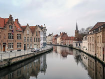 Medieval channel in Bruges, Belgium, Stock Photo