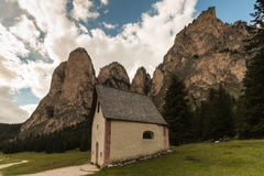 Medieval chapel in Val Gardena, Dolomites Royalty Free Stock Images