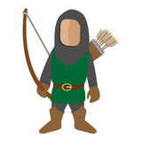 Medieval character archer cartoon icon. Single man on a white background Royalty Free Stock Image