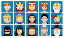 Medieval Characters Avatar Set Cartoon Vector Illustration Stock Photo