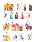Medieval Characters Buildings Icons Set Stock Photography