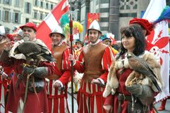 Medieval characters in a reenactment in Italy. Medieval reenactment is a form of historical reenactment that focuses on re-enacting European history in the Stock Photo
