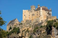 The medieval Chateau de Beynac rising on a limestone cliff above the Dordogne River. France, Dordogne department, Beynac-et-Cazenac stock photos