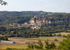 The medieval Chateau de Beynac rising on a limestone cliff above the Dordogne River. France. Dordogne department, Beynac-et-Cazenac royalty free stock photos