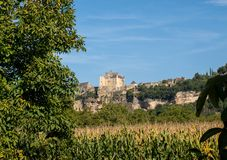 The medieval Chateau de Beynac rising on a limestone cliff above the Dordogne River. France. Dordogne department, Beynac-et-Cazenac stock photos