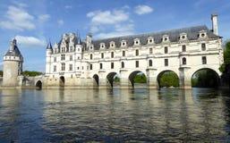 Chateau de Chenonceau on the Cher River - France, the Loire Valley. Medieval Chateau de Chenonceau spanning River Cher in Loire Valley in France stock images