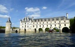 Chateau de Chenonceau on the Cher River - France, the Loire Valley. Medieval Chateau de Chenonceau spanning River Cher in Loire Valley in France stock photos
