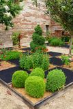 Medieval chateau garden stock images