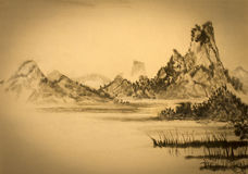 Medieval Chinese painting mountains and clouds Stock Images