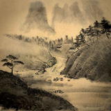 Medieval Chinese painting. With mountains and river royalty free stock photos