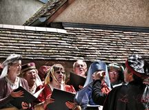 Medieval Choir. Sings at the Provins Medieval Festival Stock Photography